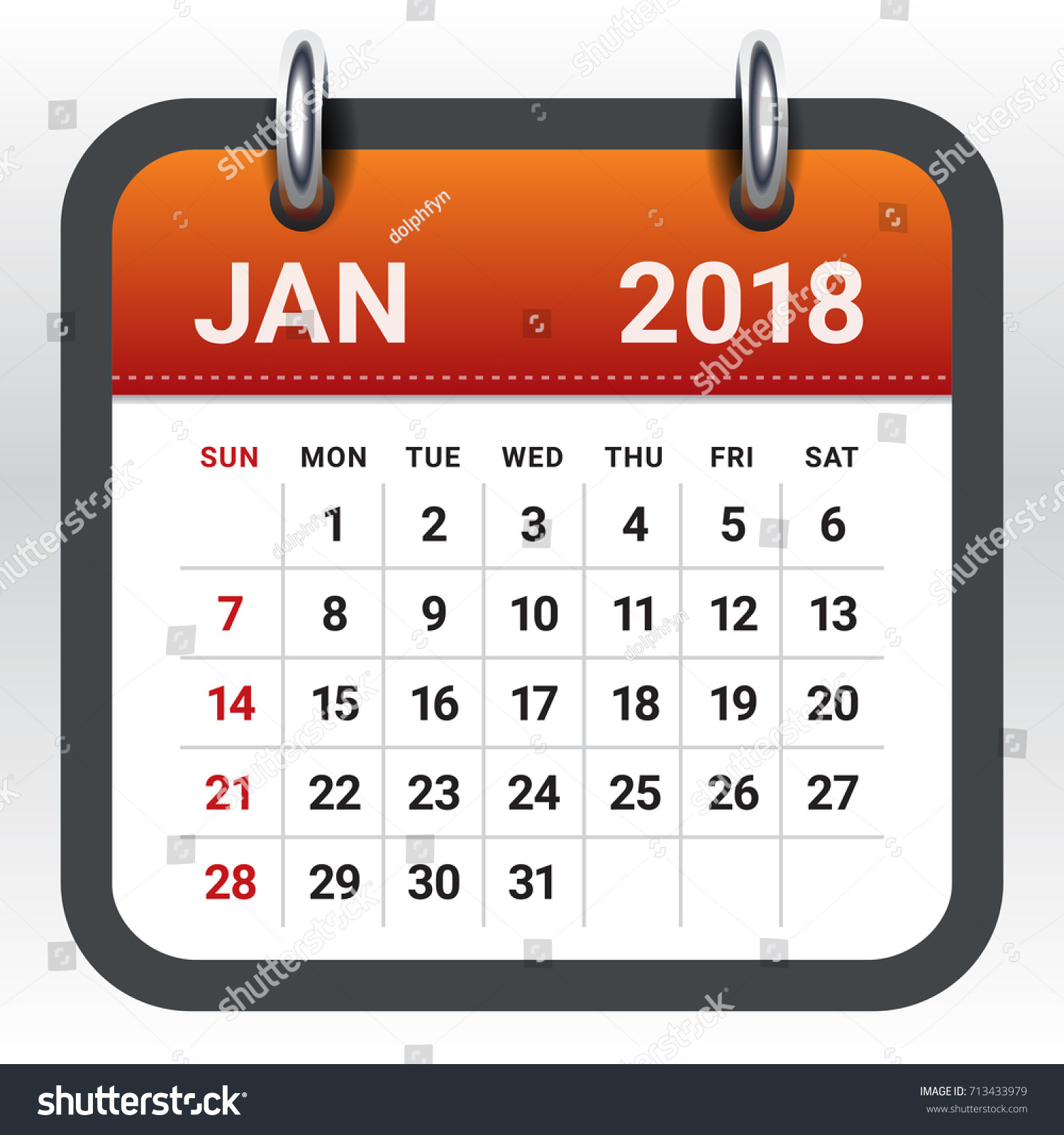 January 2018 Calendar Vector Illustration Simple Stock Vector ...