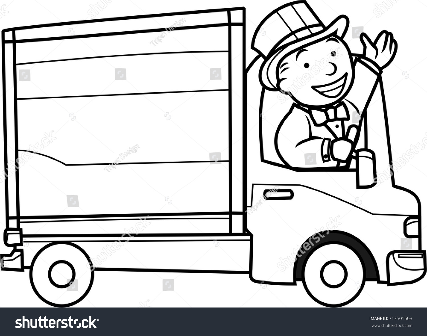 Man Driving White Removals Van Vector Stock Vector Royalty Free