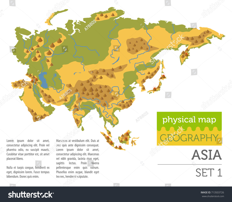 Picture of: Vector De Stock Libre De Regalias Sobre Flat Asia Physical Map Elements Isolated713503726