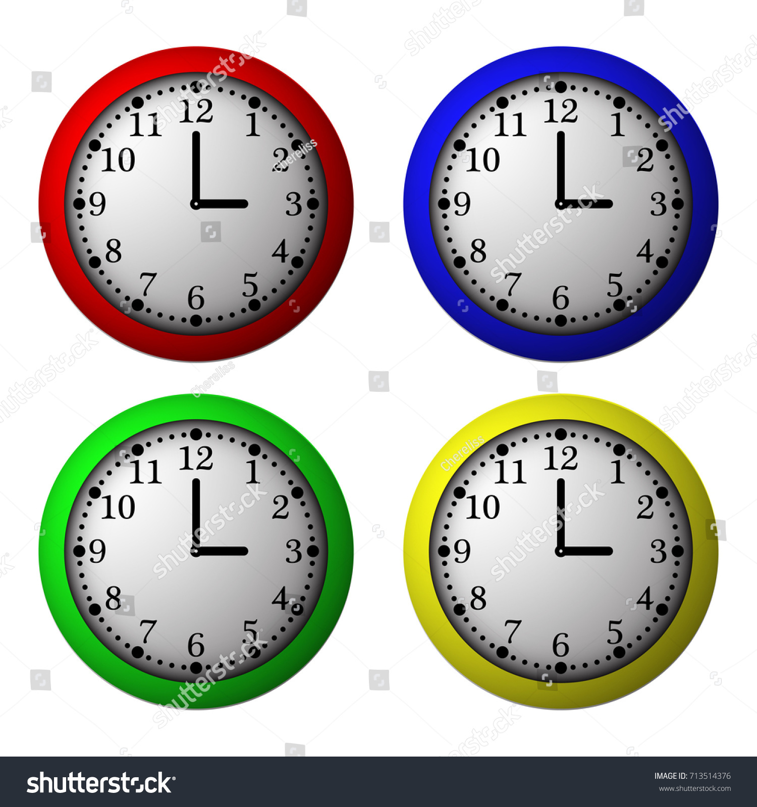 Vector Volume Clocks. Colorful Office Illustration Isolated From White  Background.
