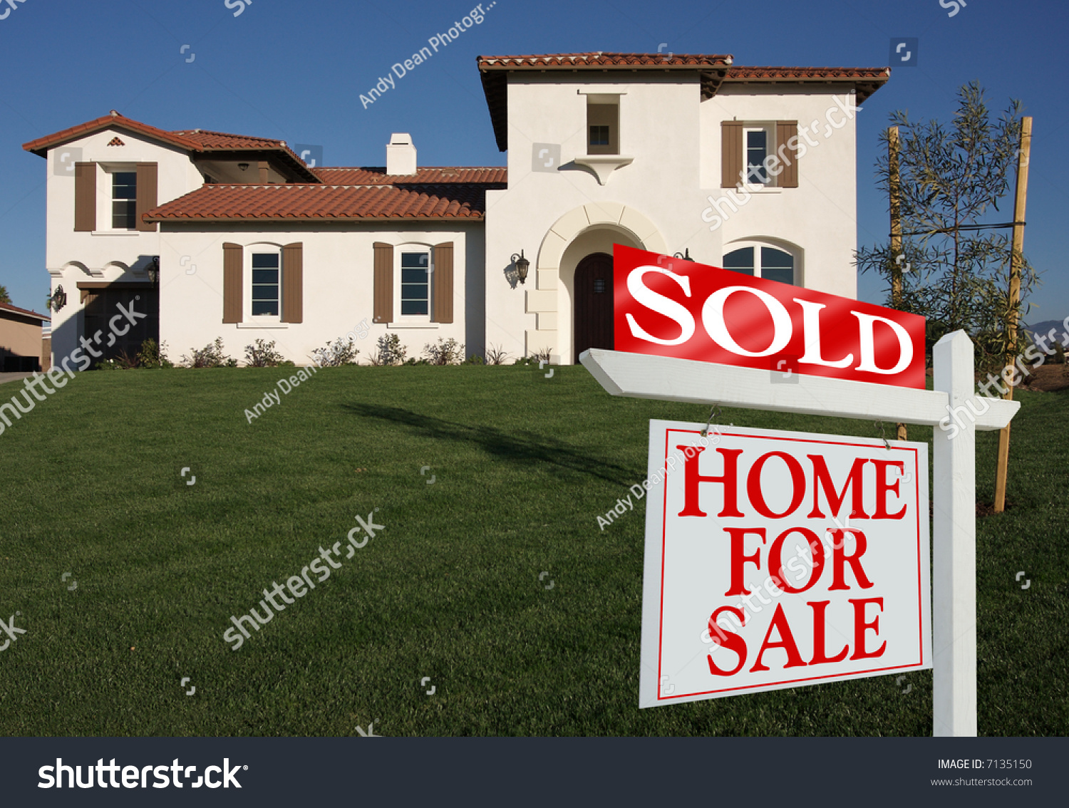 Sold home sale sign front new stock photo 7135150 for New home sign