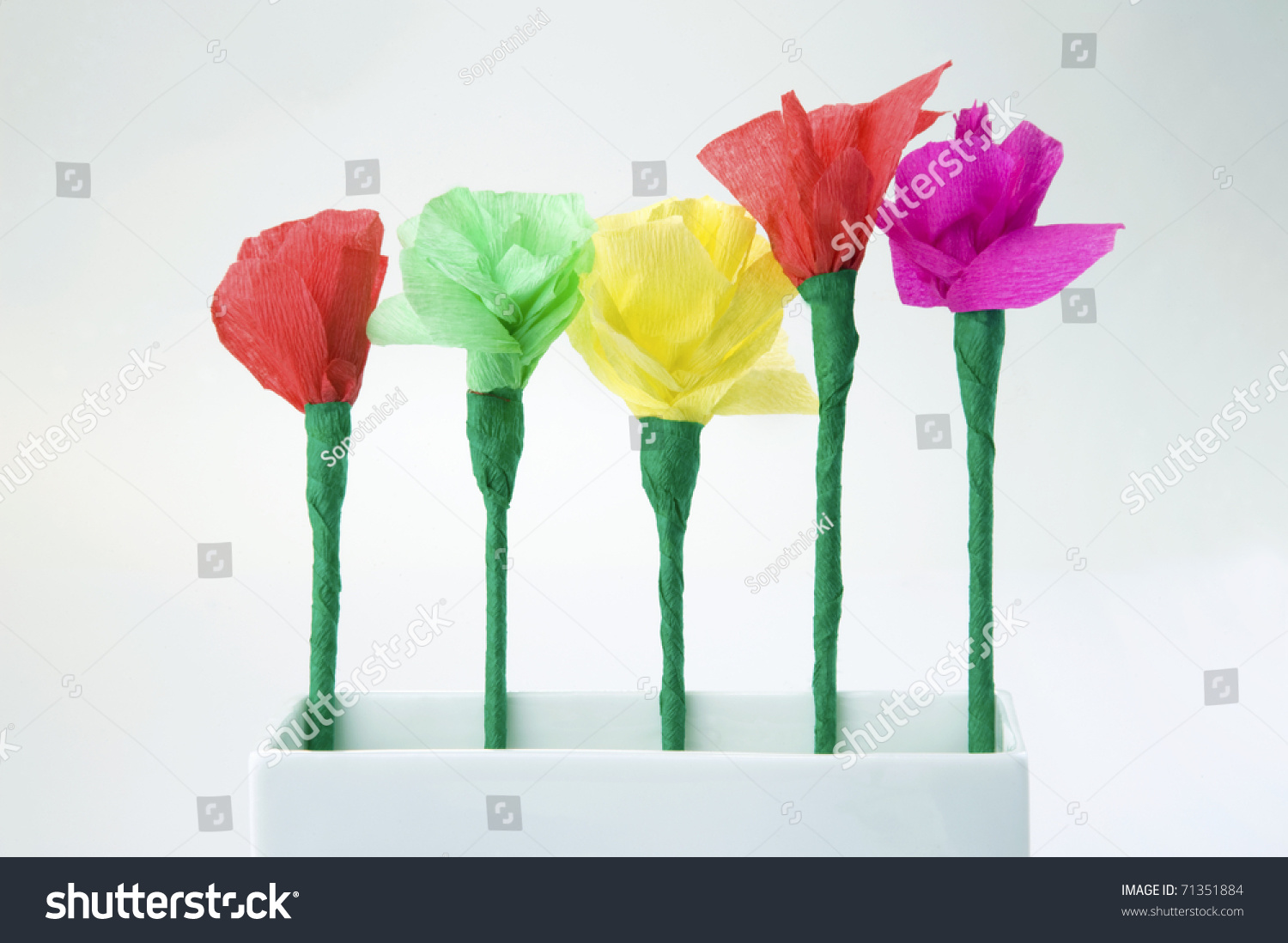 Five Colorful Paper Flowers Made By Stock Photo Edit Now 71351884