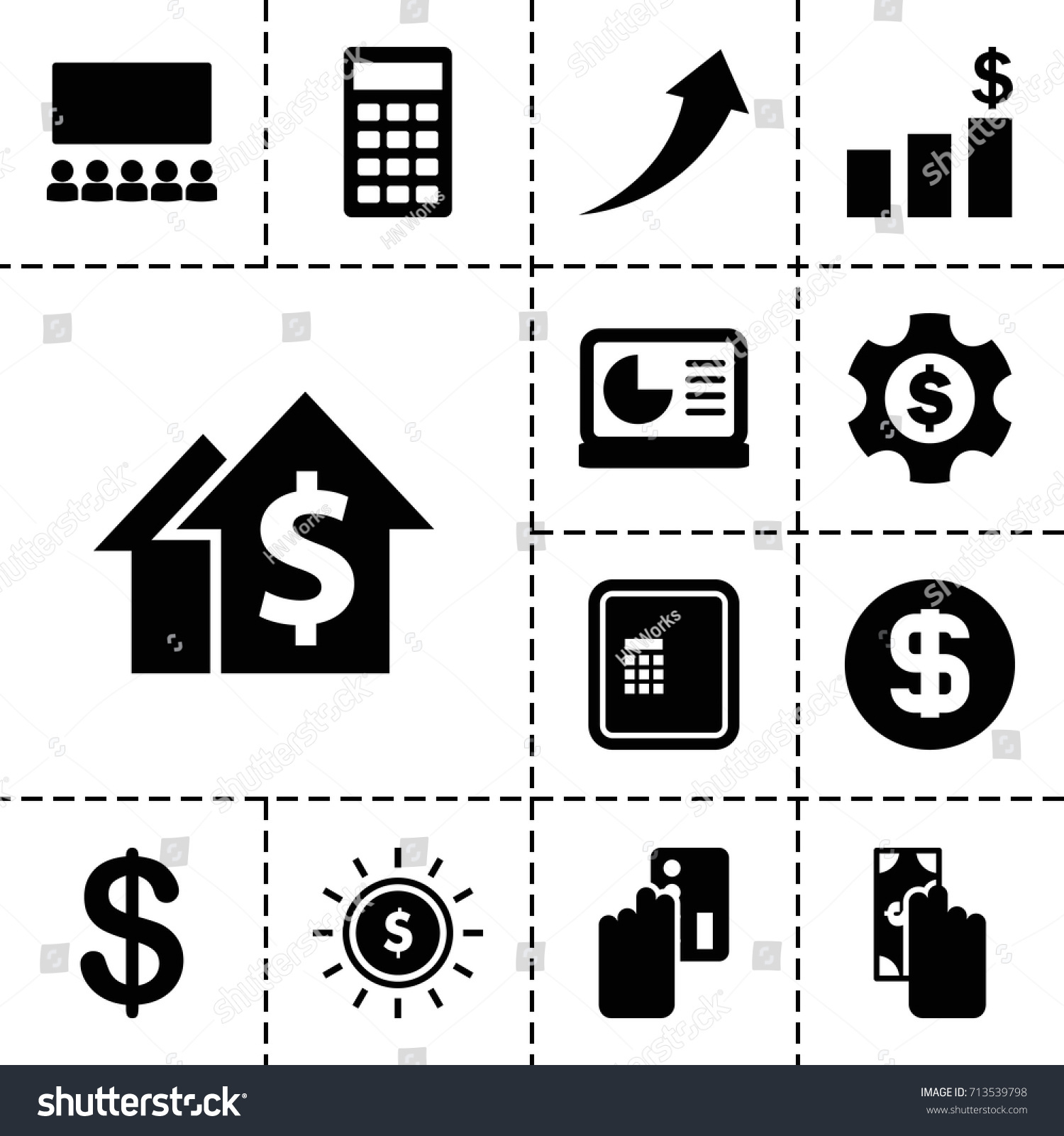 Financial icon set 13 filled financial stock vector 713539798 financial icon set of 13 filled financial icons such as atm coin calculator geenschuldenfo Choice Image