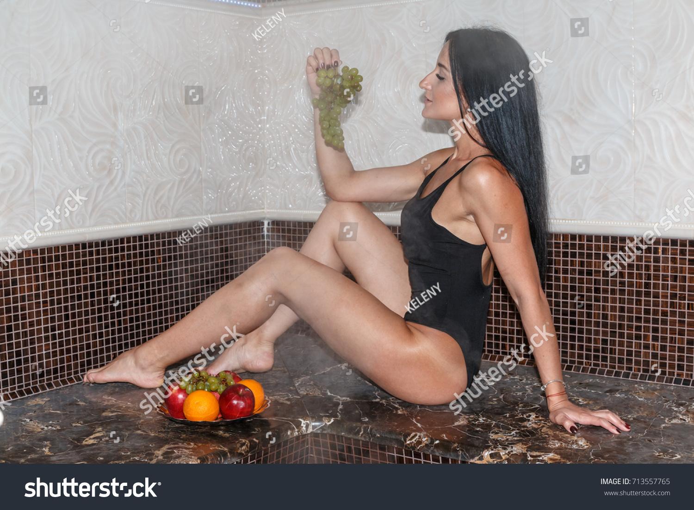 Nice Girl Black Swimsuit Has Rest Stock Photo Edit Now 713557765