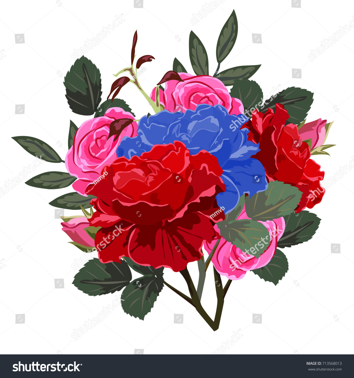 Bouquet Red Pink Blue Roses Decor Stock Vector (Royalty Free ...