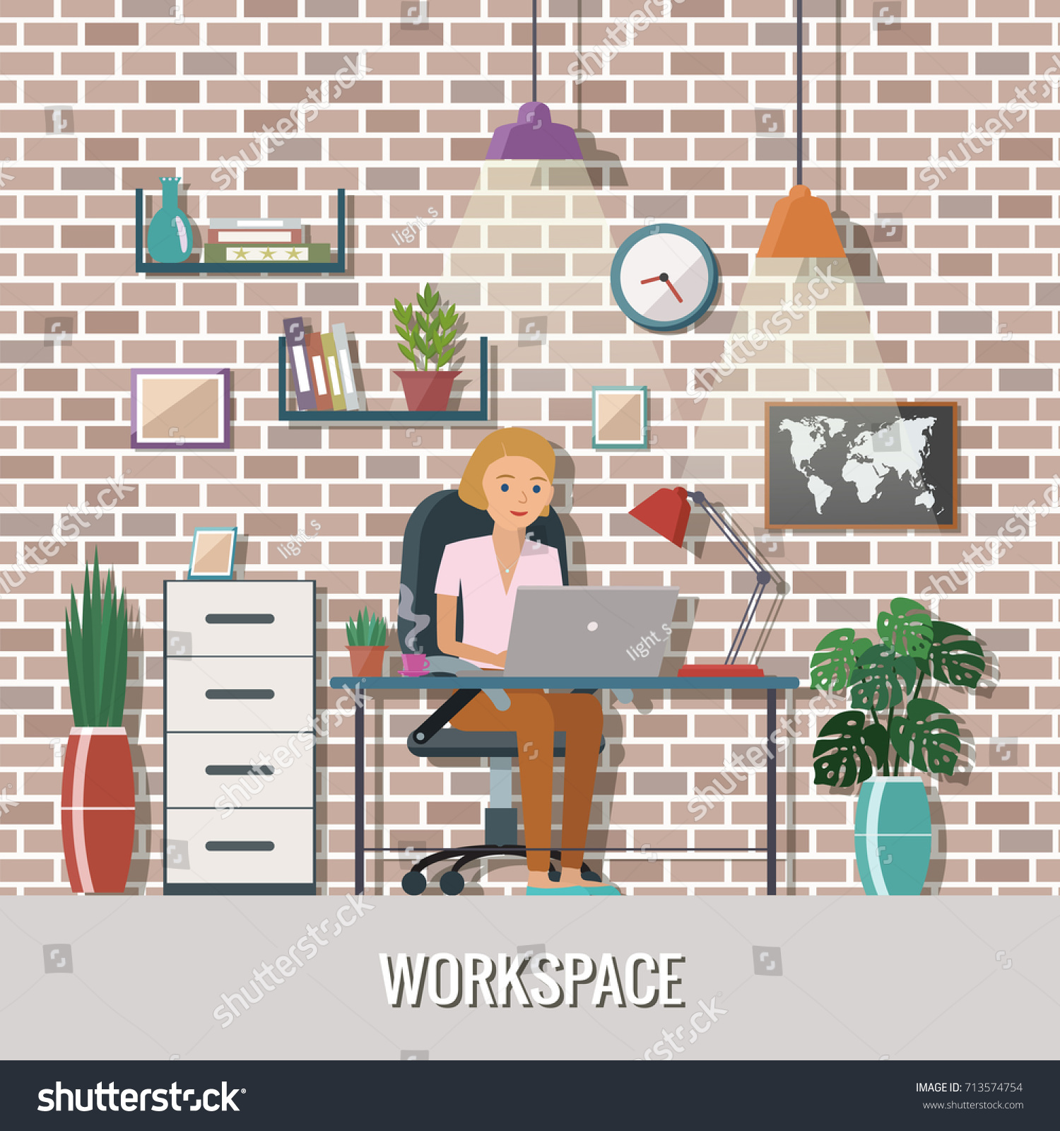 Woman vector character working in the creative office or home. Freelance  work. Workspace vector