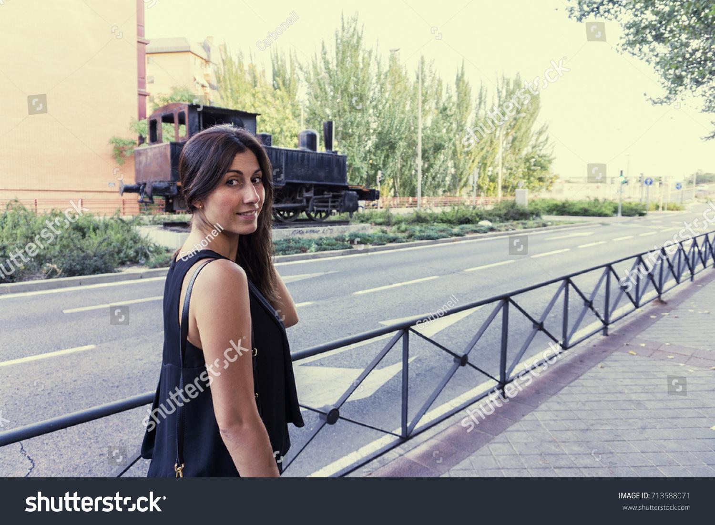 Fashion Model Black Blouse Posing On Stock Photo (Edit Now