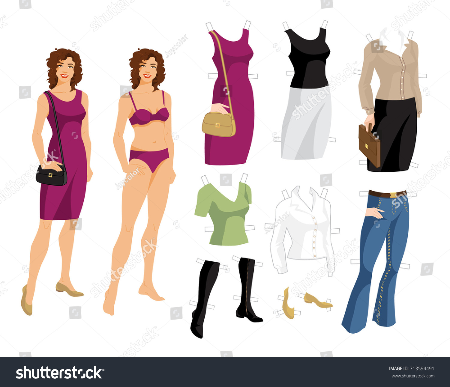 Paper Doll With Clothes For Office And Holiday Body Template Young Girl Curly