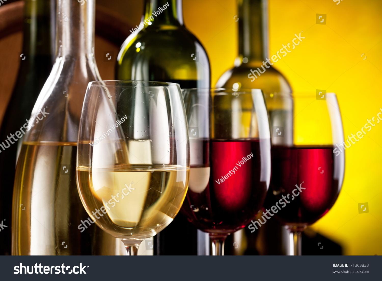 Still life wine bottles glasses stock photo 71363833 for Pictures of wine bottles and wine glasses