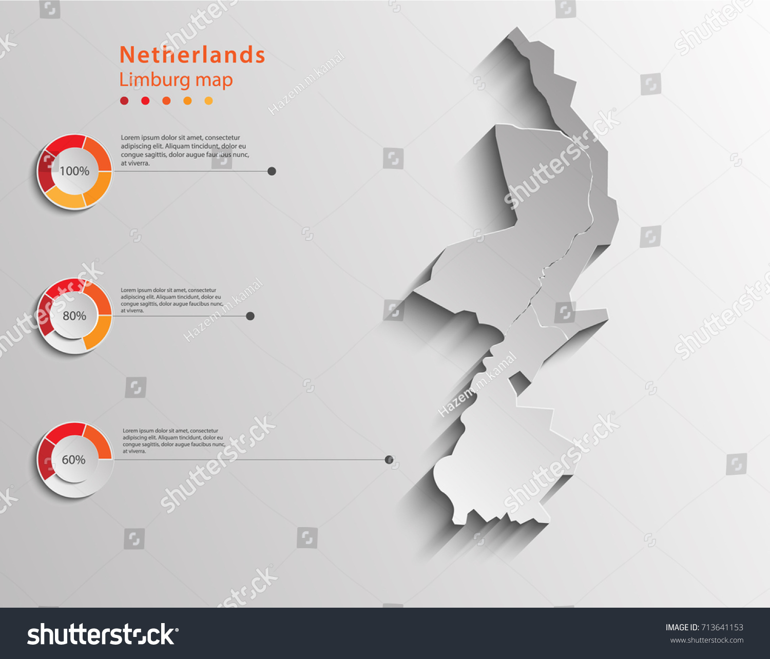 Limburg Map Netherlands Provinces Map Infographic Stock Vector