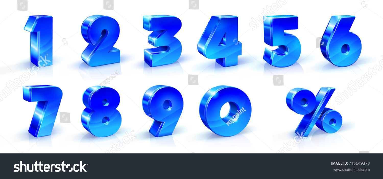 Set of blue numbers 1, 2, 3, 4, 5, 6, 7, 8, 9, 0 and percent sign. 3d illustration. Suitable for use on advertising banners posters flyers promotional items, Seasonal discounts Black Friday etc. #713649373