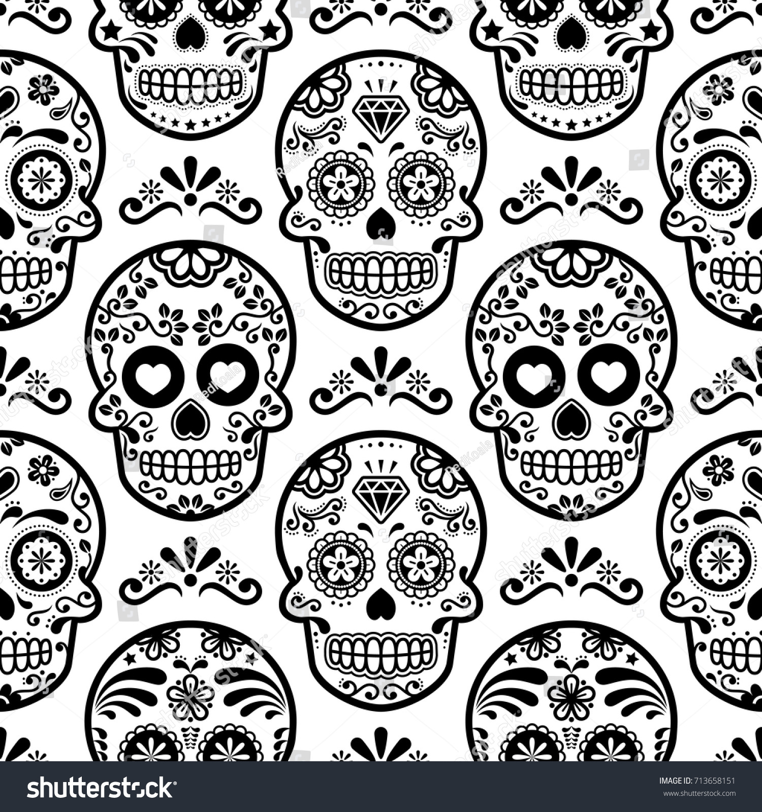 Mexican Sugar Skull Vector Seamless Pattern Stock Vector Royalty