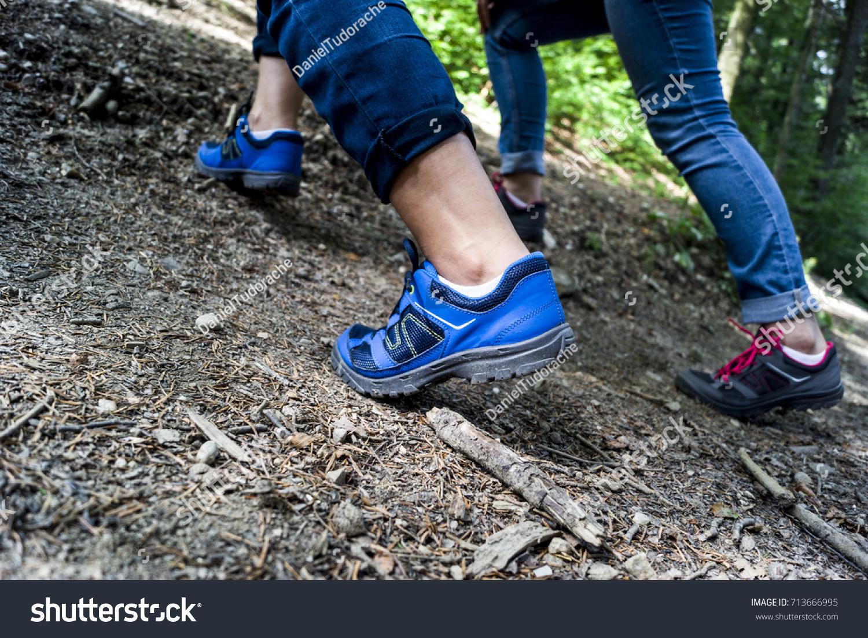 Two Girls Wearing Trekking Shoes