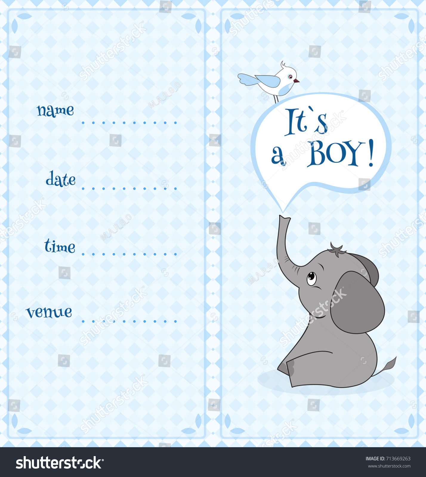 Baby Shower Invitation Card Cute Funny Stock Vector