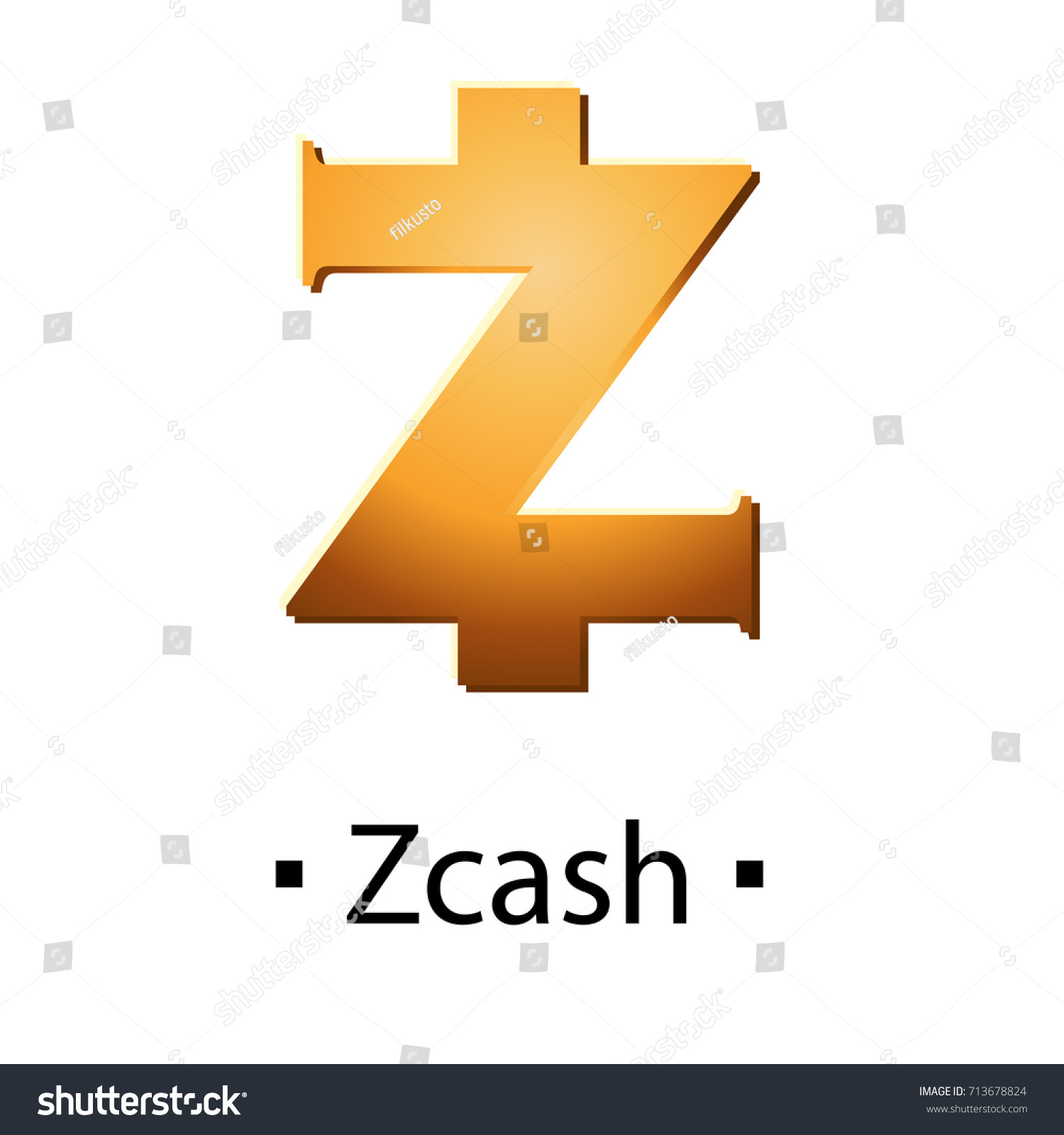 Zcash Cryptocurrency Golden Icon Vector Illustration Isolated On White Background