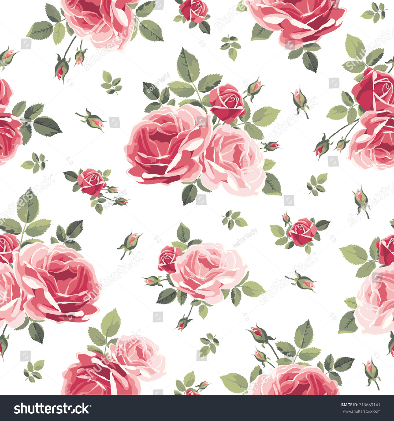 Vintage Pink Rose Flower Pattern Drawing by Li Or |Vintage Floral Rose Pattern