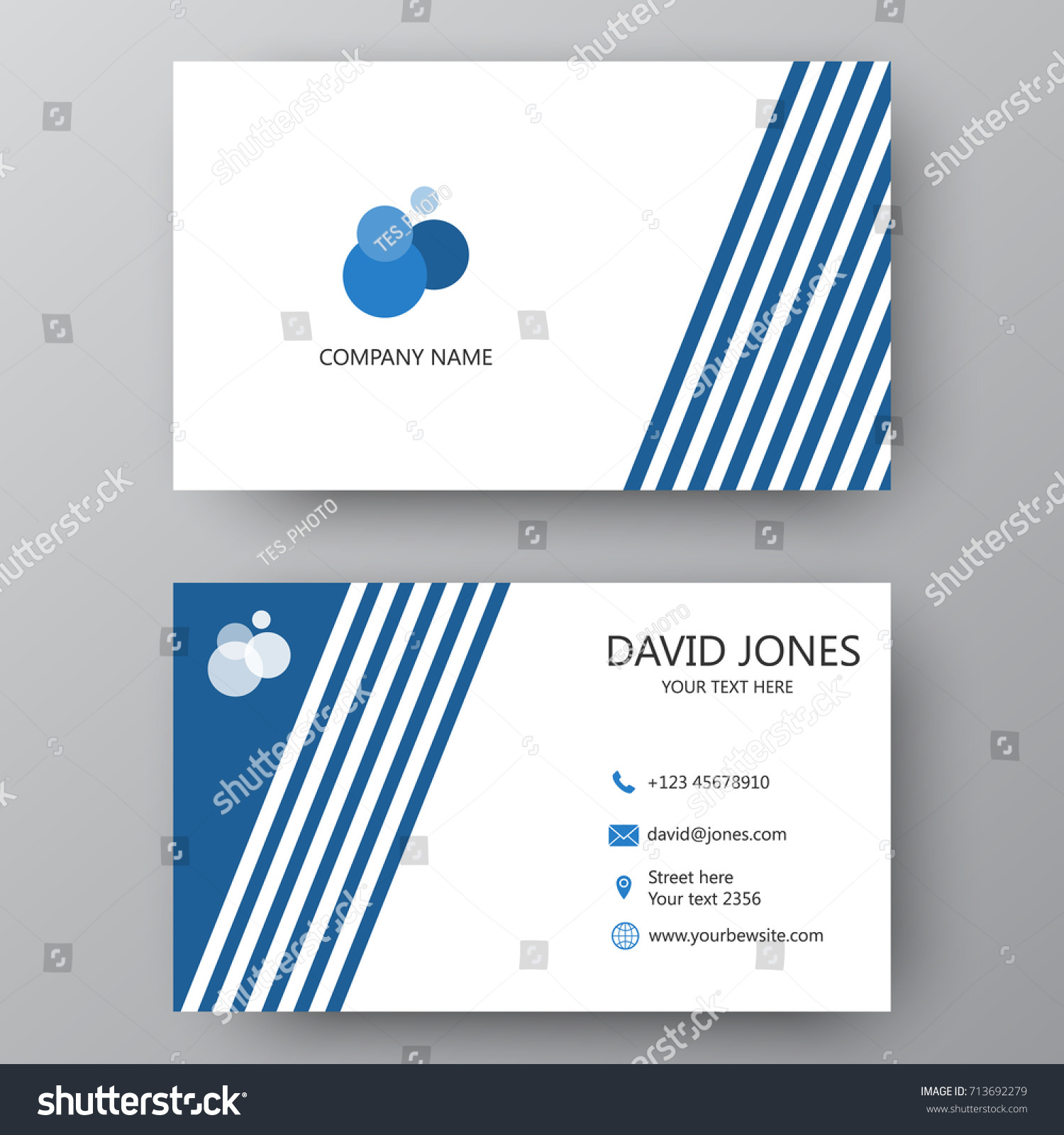 Vector Business Card Template Visiting Card Stock Vector Royalty Free 713692279