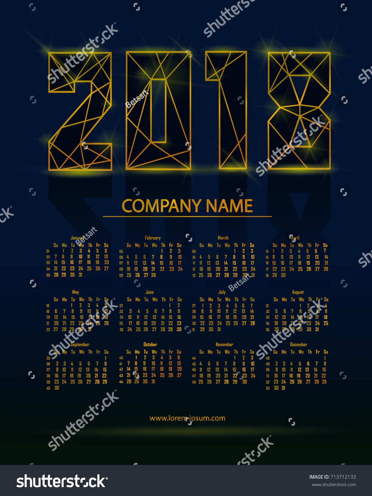 2018 Calendar In Futuristic Style Vector Illustration With Gold Elements Can Be Used For Design