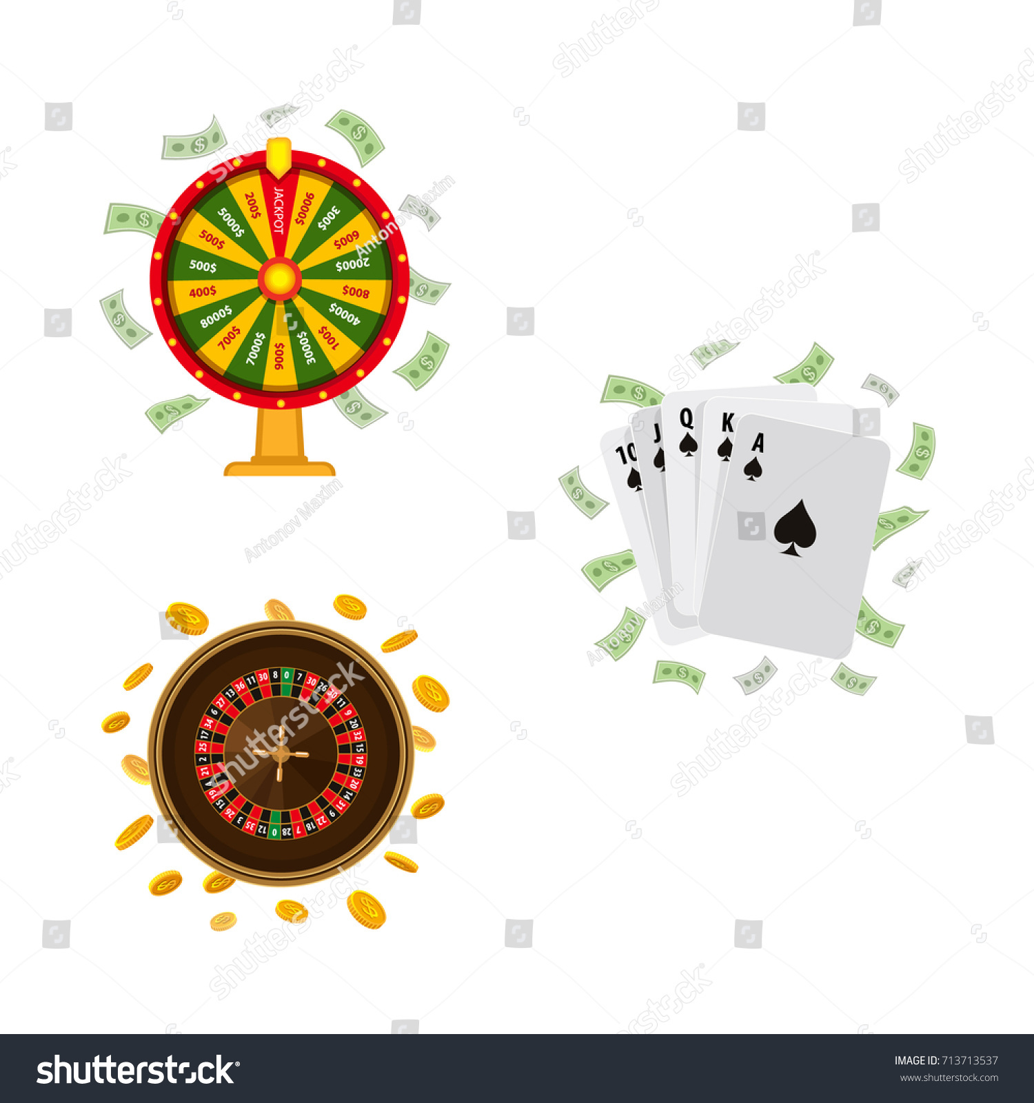 Set Casino Gambling Symbols Roulette Wheel Stock Vector Royalty