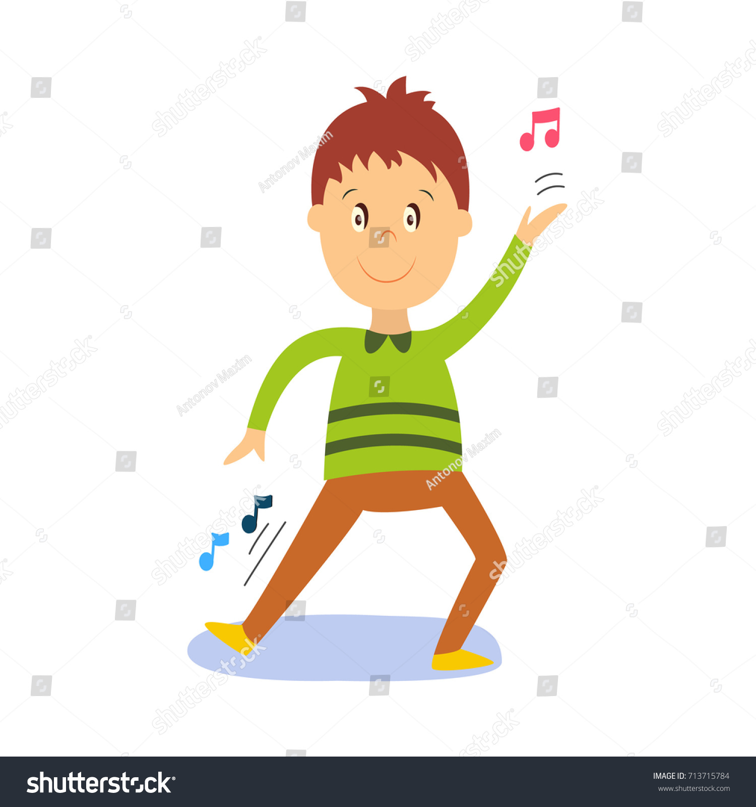 Vector flat cartoon boy child dancing alone in green pullover smiling little dancer male character
