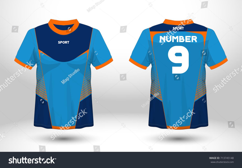 Blue layout football sport tshirt design stock vector for Design t shirt sport