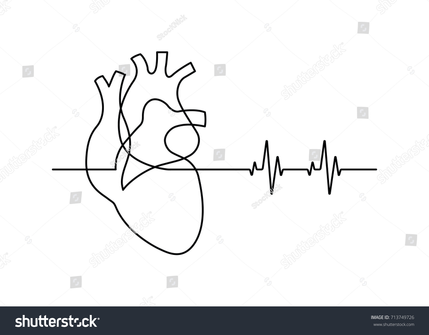 Heartbeat Line Drawing: Continuous Line Drawing Heart Heartbeat On Stock Vector