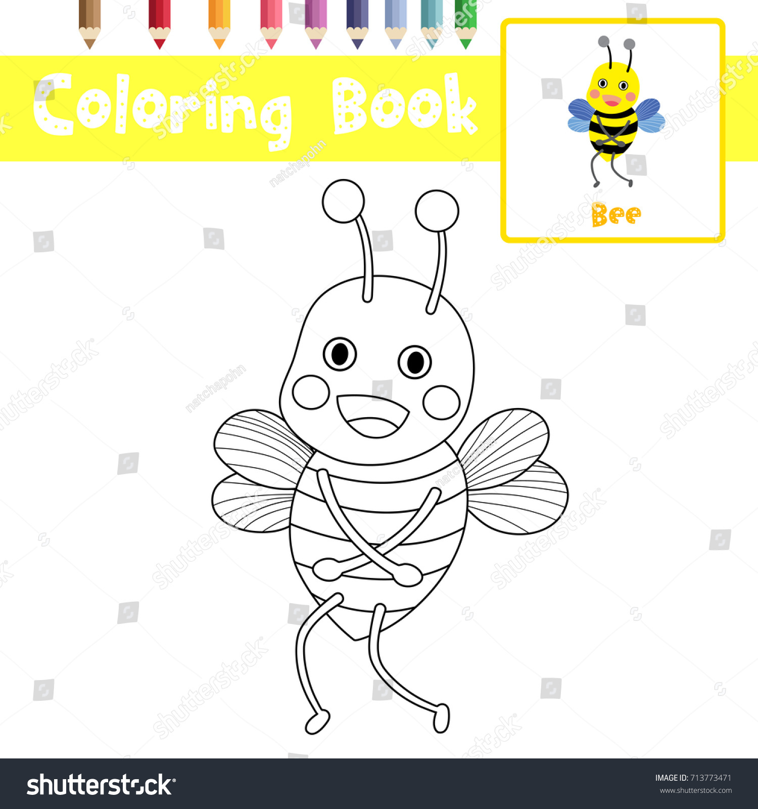 Coloring Page Of Standing Bee Animals For Preschool Kids Activity  Educational Worksheet. Vector Illustration.