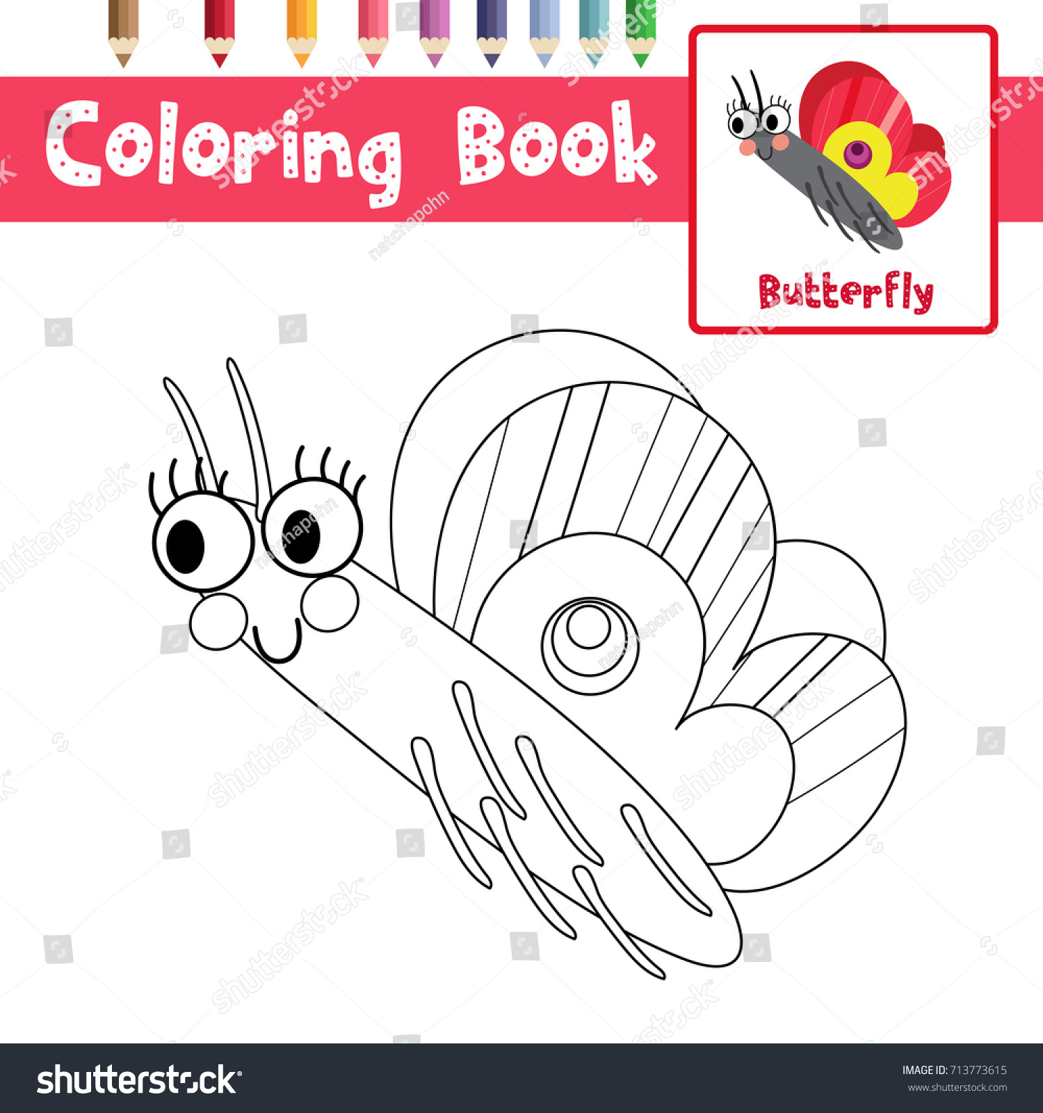 coloring page butterfly side view animals stock vector 713773615