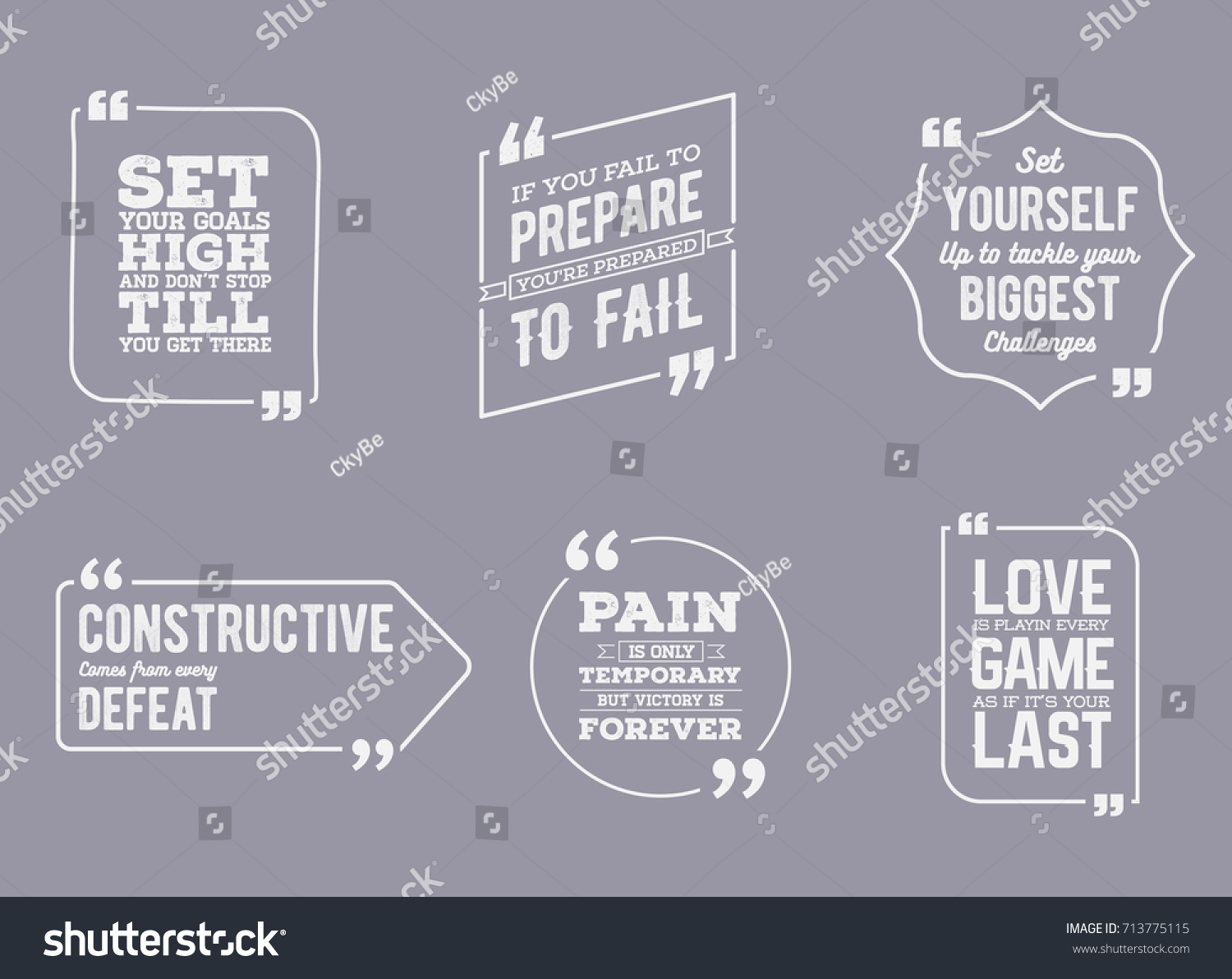 Typographic Quote Template Template Raster Set Stock Illustration ...