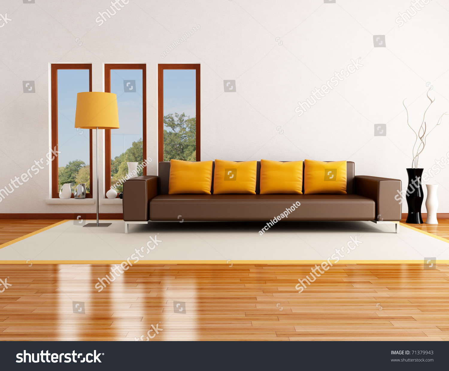 Modern living room background - Modern Living Room In A Country House Rendering The Image On Background Is A
