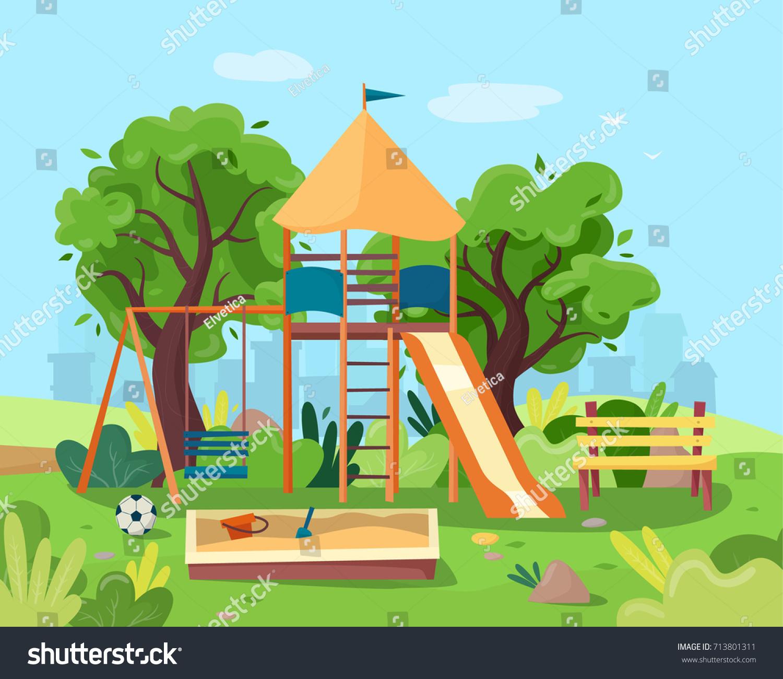Kids Playground City Park Swings Sandbox Stock Vector