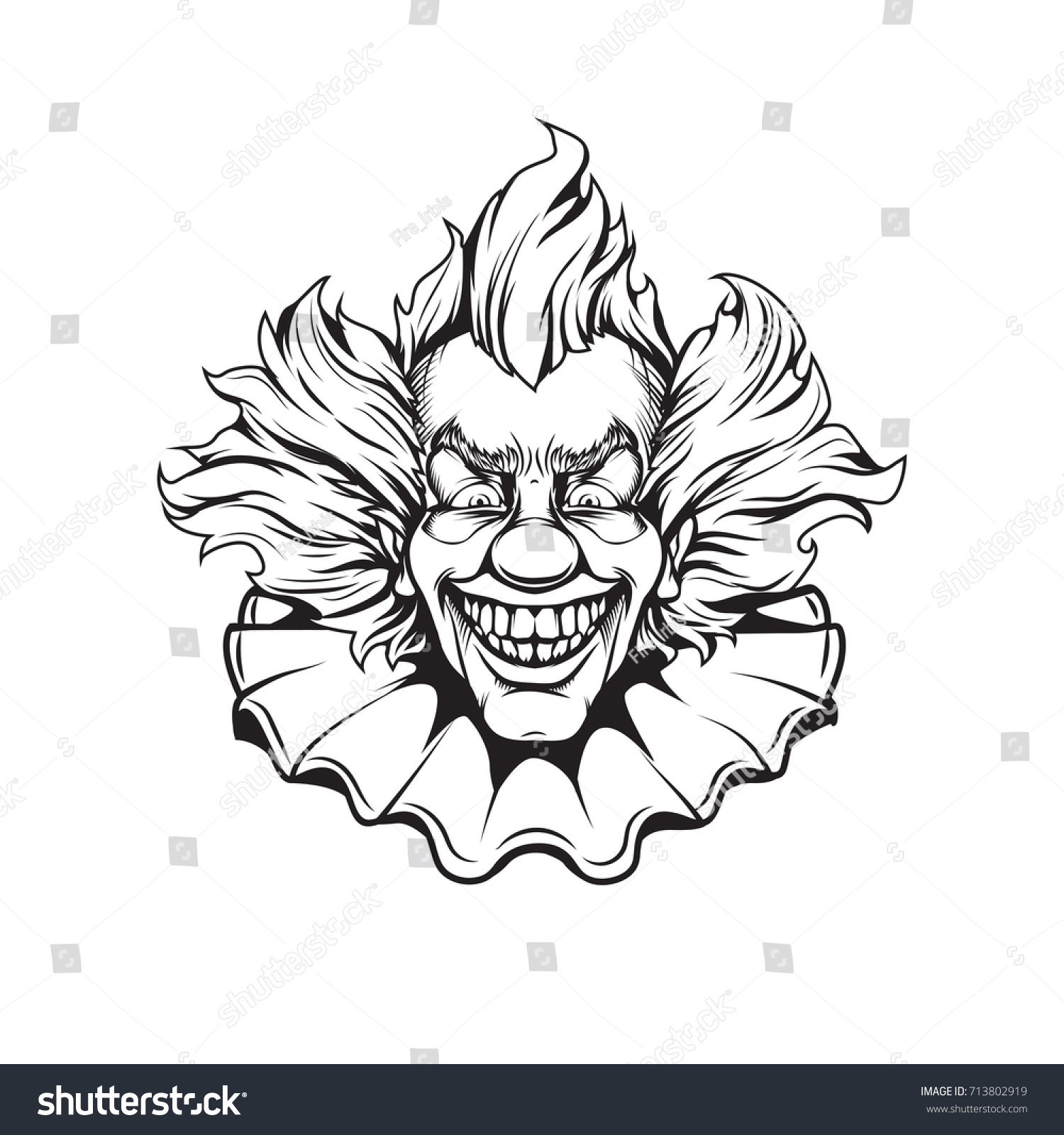 clown coloring page stock vector 713802919 shutterstock