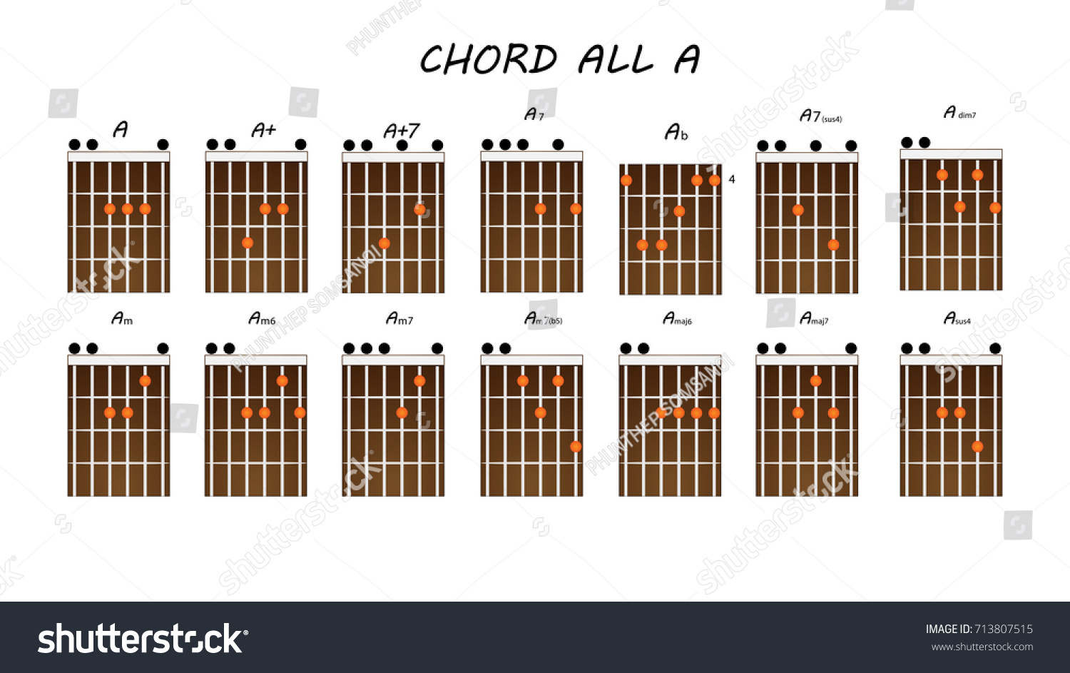 Table Chord Guitar Chords A Stock Vector Royalty Free 713807515