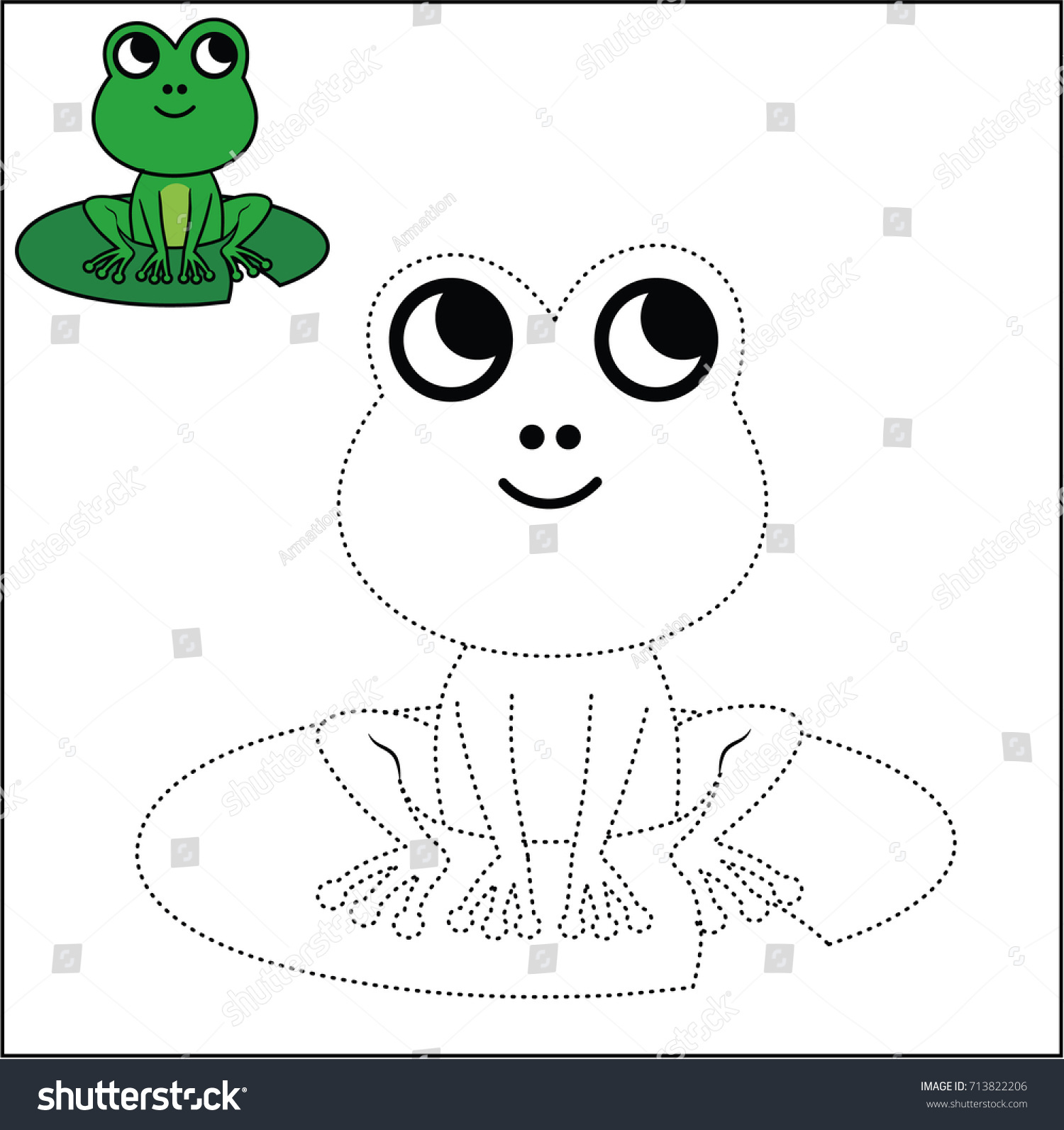 Connect Dots Coloring Page Frog Vector Stock Vector HD (Royalty Free ...
