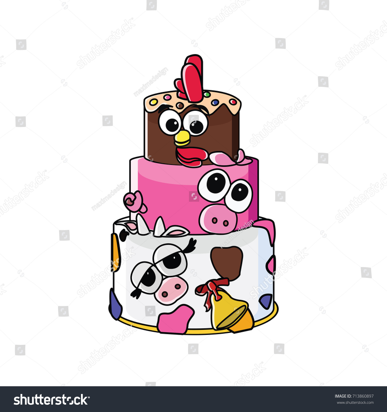 Cute Farm Animals Birthday Cake Vector Stock Vector Hd Royalty Free