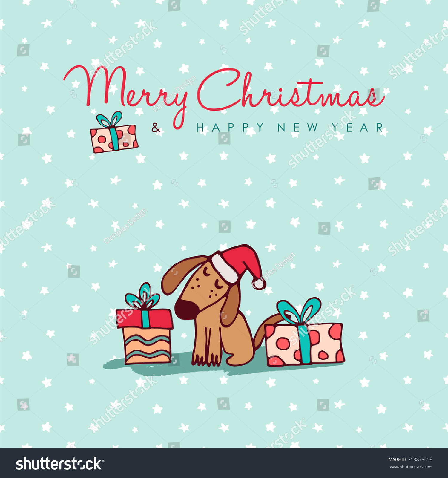 Merry Christmas Happy New Year Hand Drawn Dog Greeting Card Illustration.  Funny Puppy In Santa