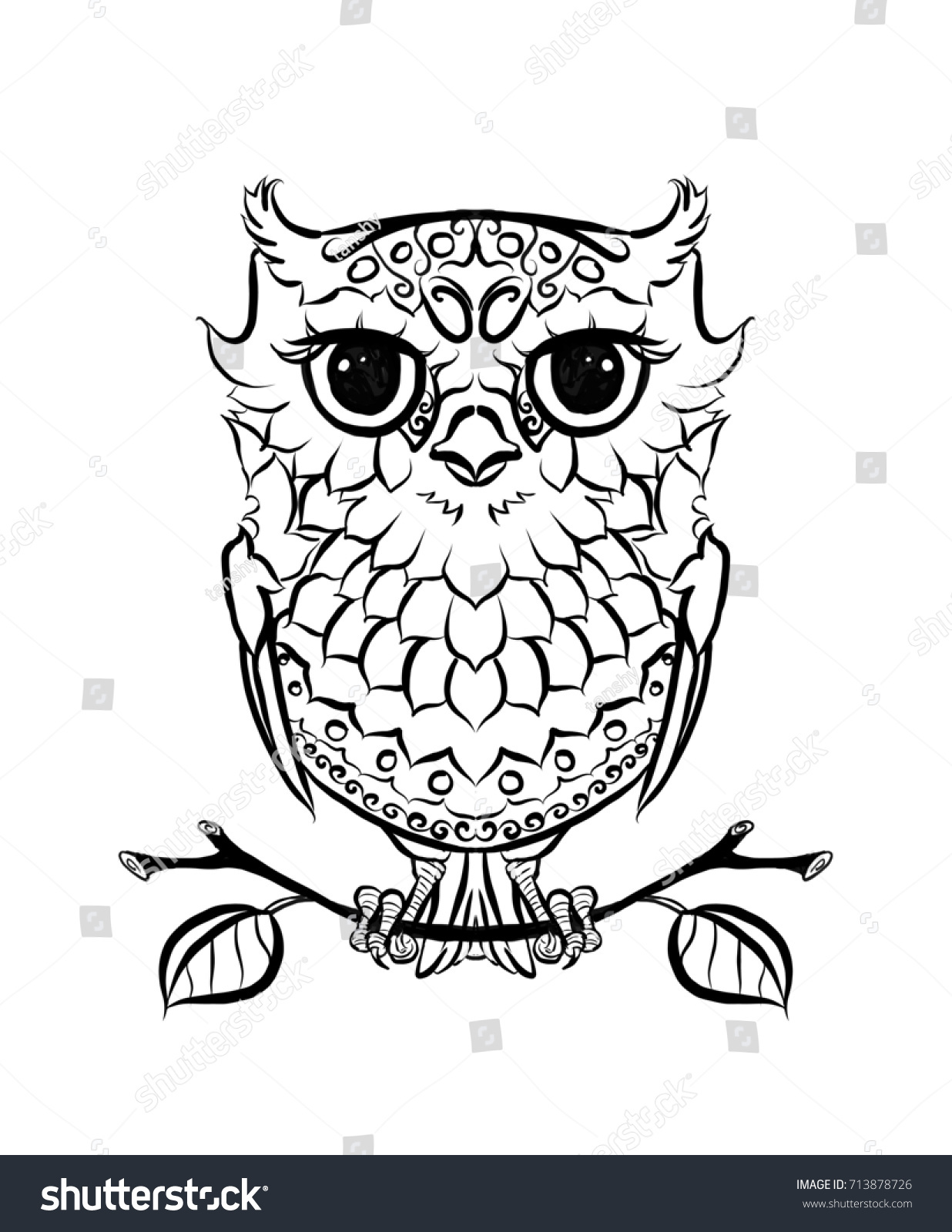 Owl Coloring Antistress Stock Illustration 713878726 - Shutterstock