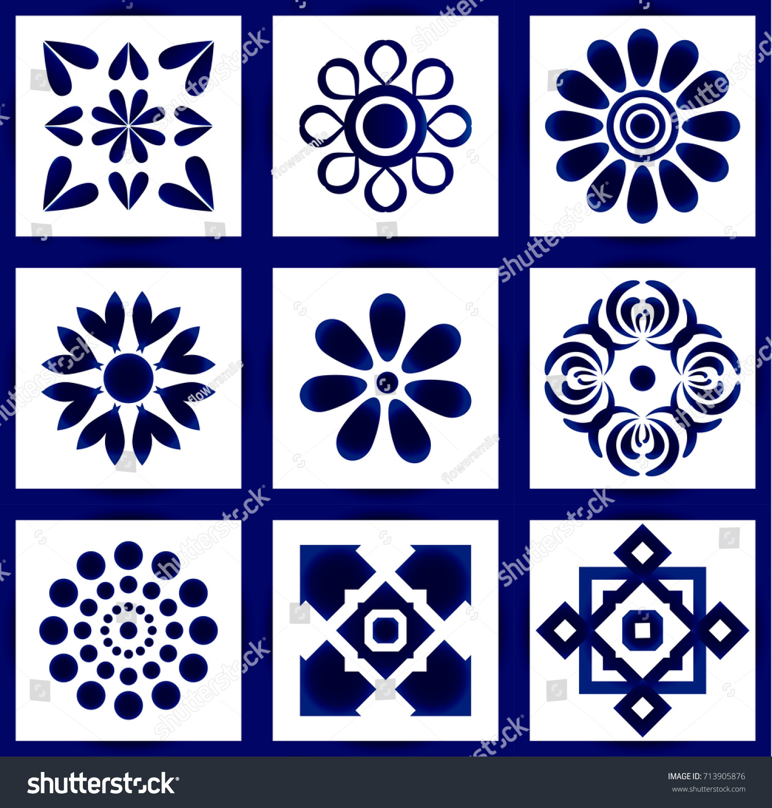 Ceramic Tile Pattern Vector Set Abstract Stock Vector 713905876 ...