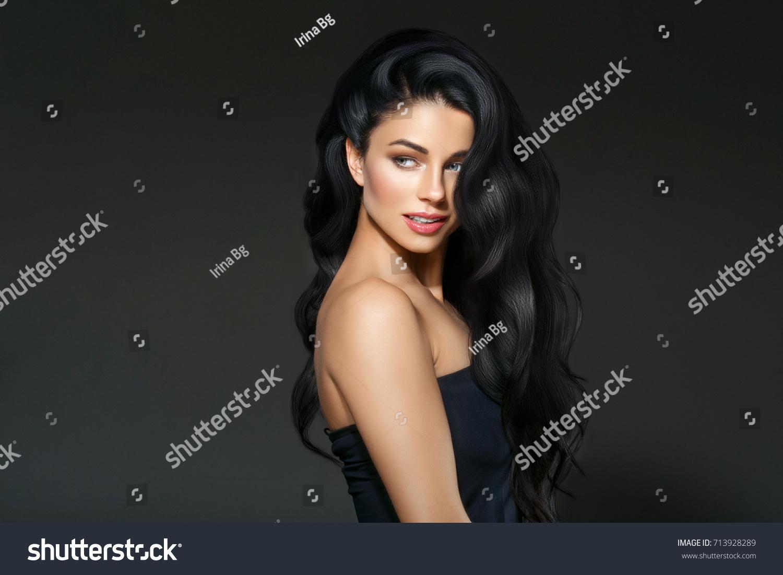 Beautiful Black Hair Woman Beautiful Portrait Hairstyle Curly Hair Beauty Female Model Girl Over Dark