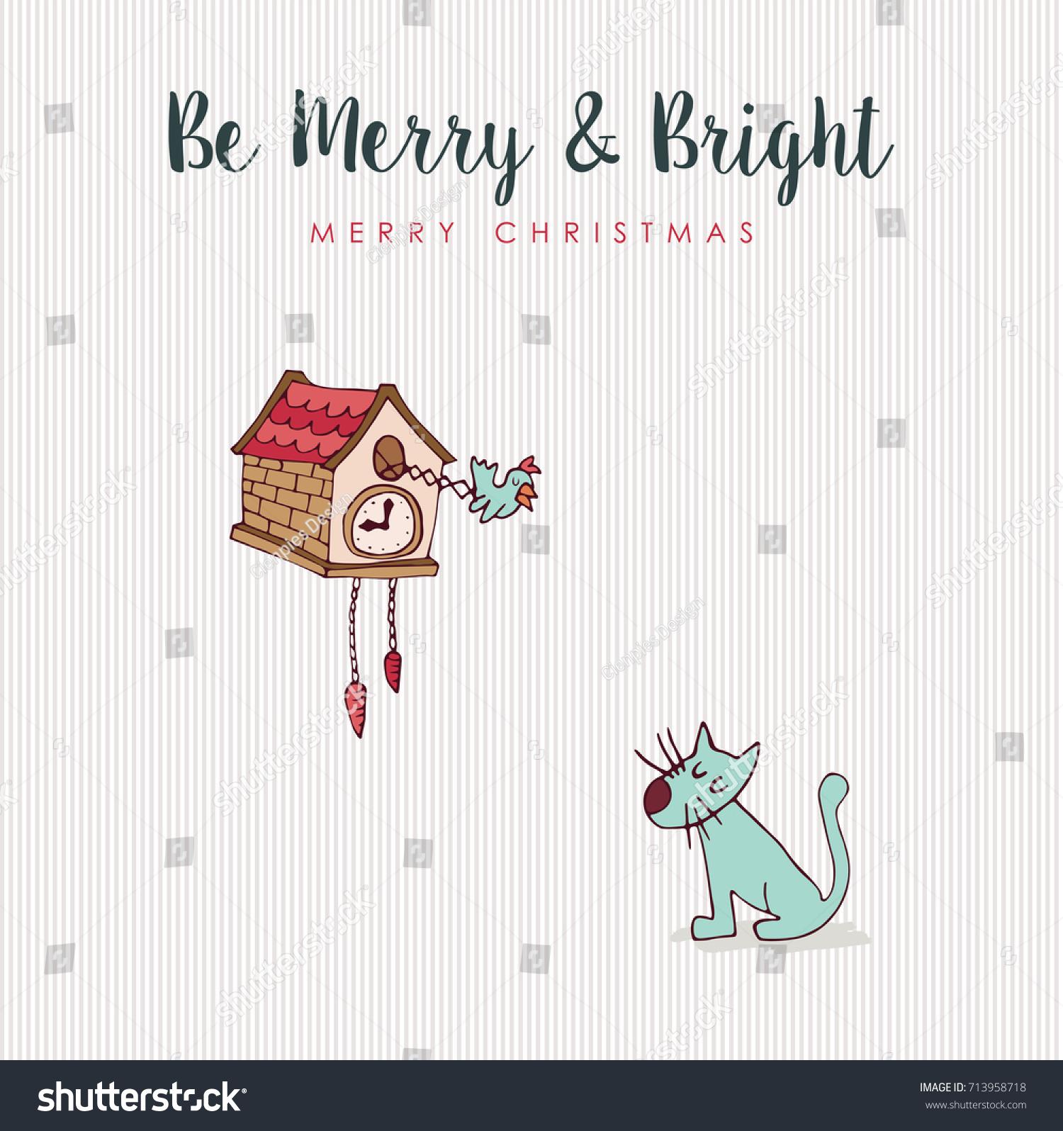 Merry Christmas Hand Drawn Animal Greeting Stock Vector Royalty