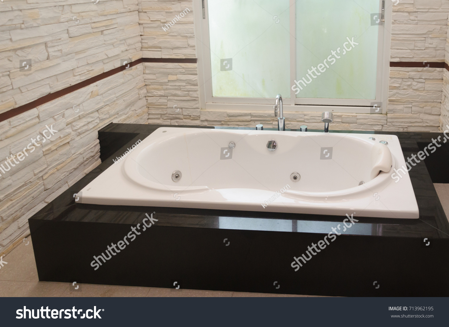 Modern luxury bathtub with bathroom. | EZ Canvas