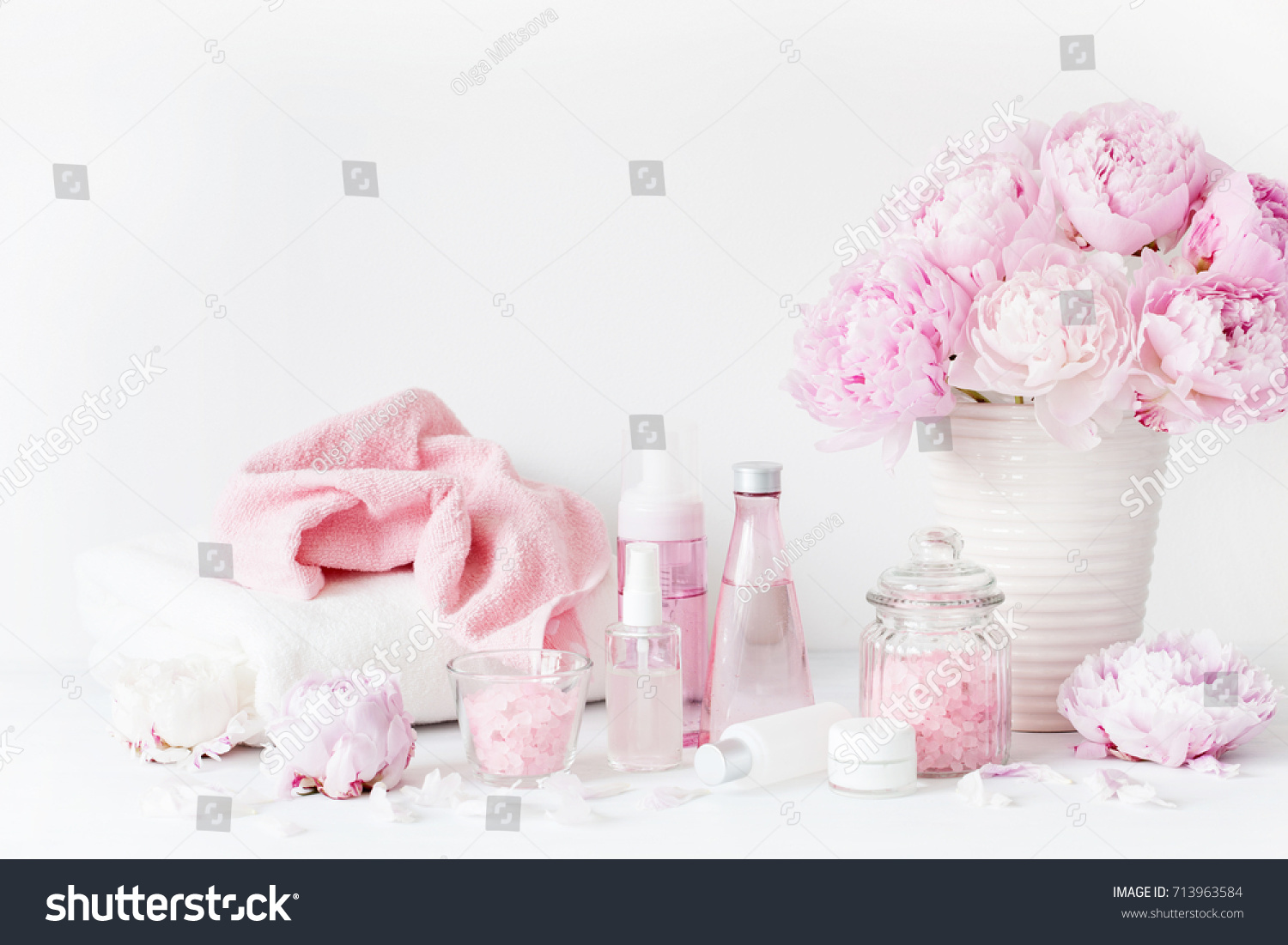 Bath Spa Peony Flowers Beauty Products Stock Photo Royalty Free