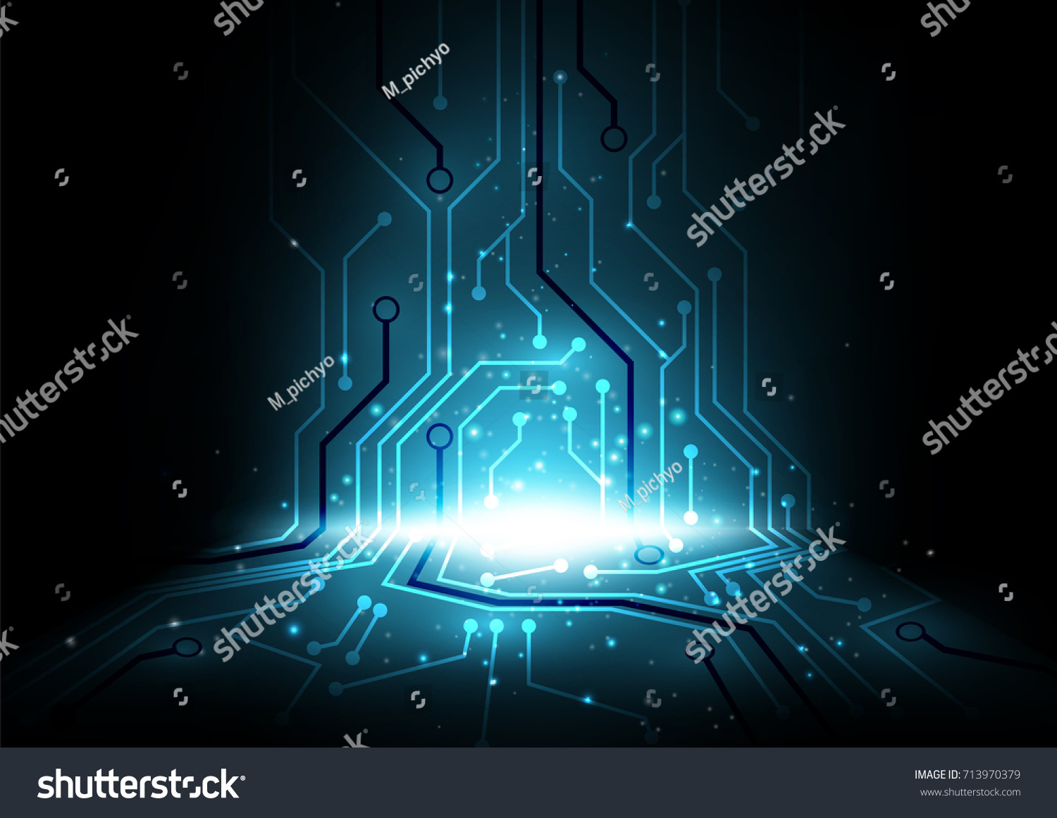 dark blue perspective electrical circuit board background, computer future  abstract vector illustration, moving forward