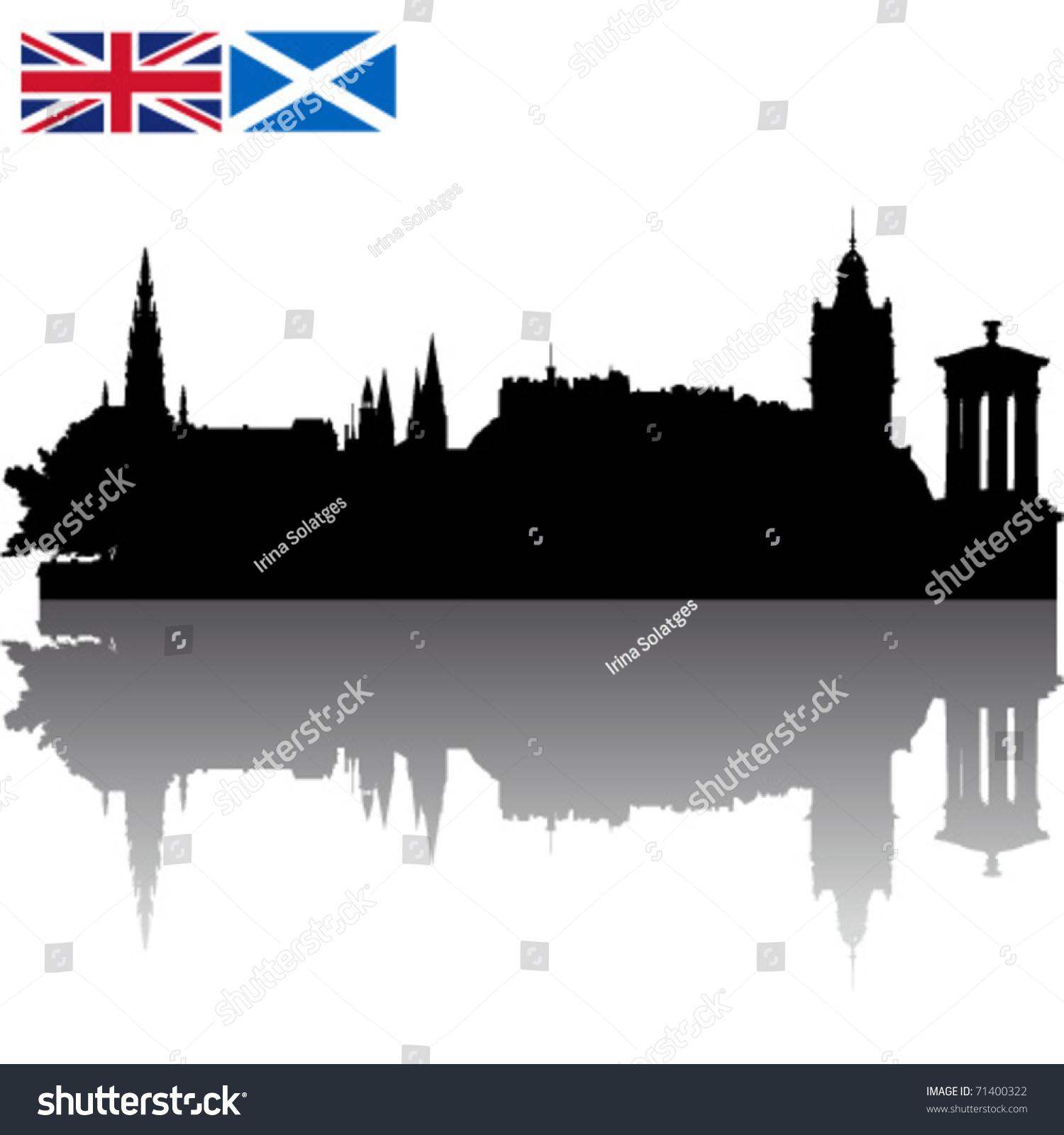 black vector edinburgh silhouette skyline union stock vector