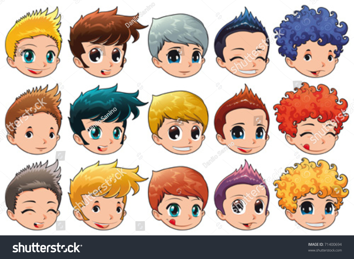 Group Faces Different Expressions Hair Cartoon Stock