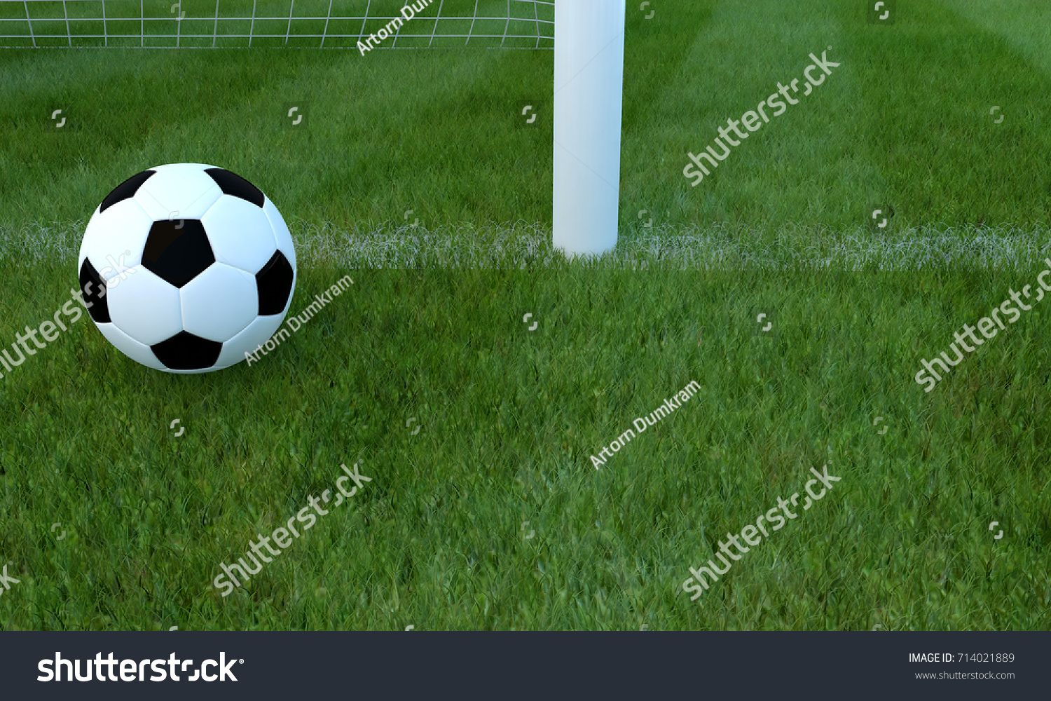 grass soccer field with goal. Football Black And White Color On Grass Soccer Field Near Goal Line.3D Rendering With R