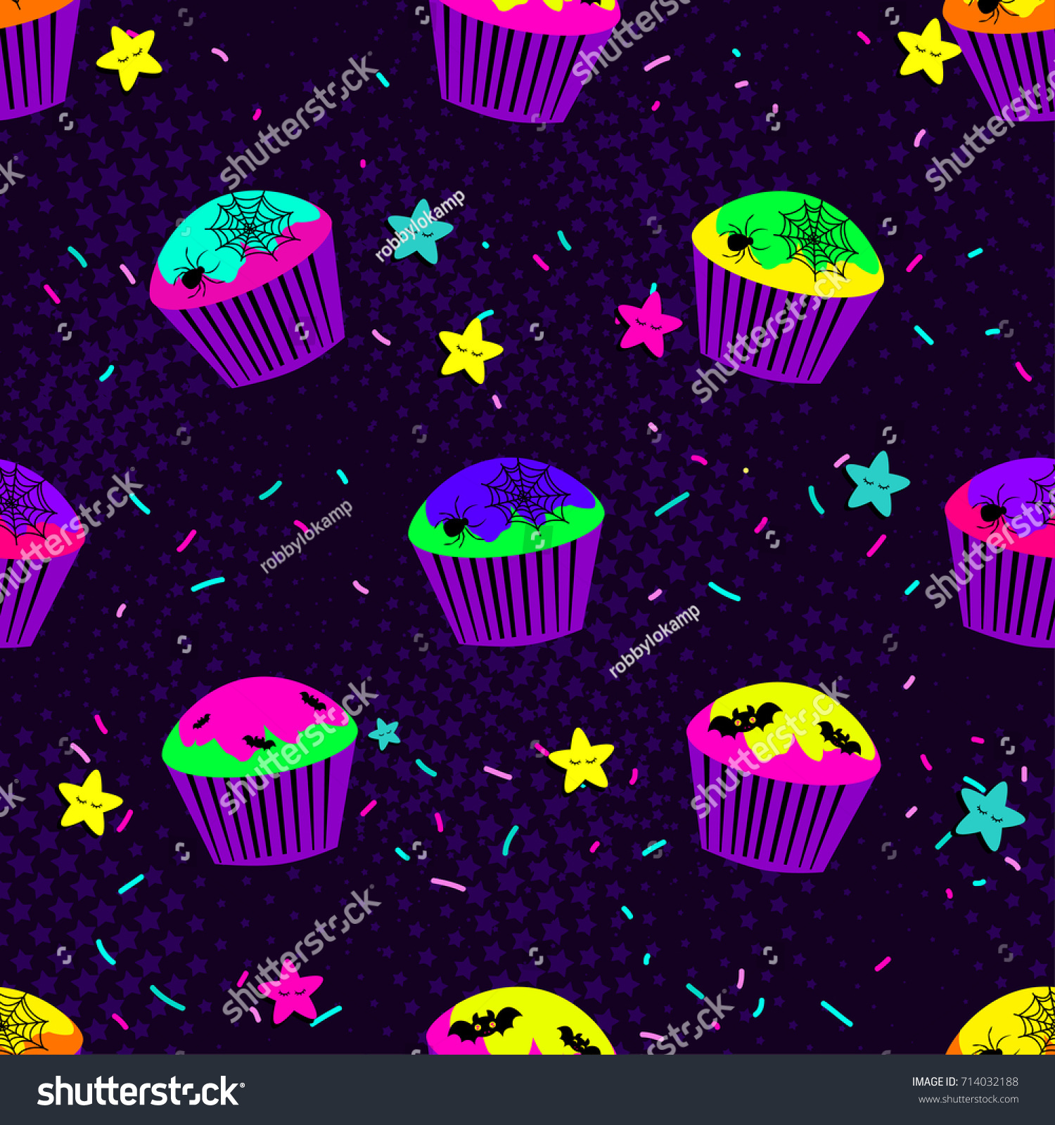 Cool Wallpaper Halloween Neon - stock-vector-abstract-seamless-pattern-for-girls-or-boys-creative-vector-background-with-cupcake-skull-bat-714032188  Perfect Image Reference_197766.jpg