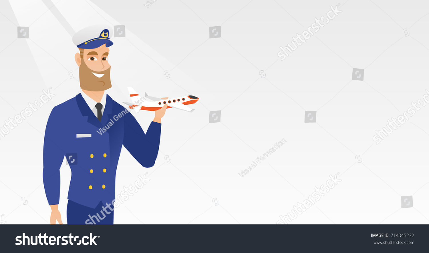 young caucasian airline pilot holding model stock vector 714045232
