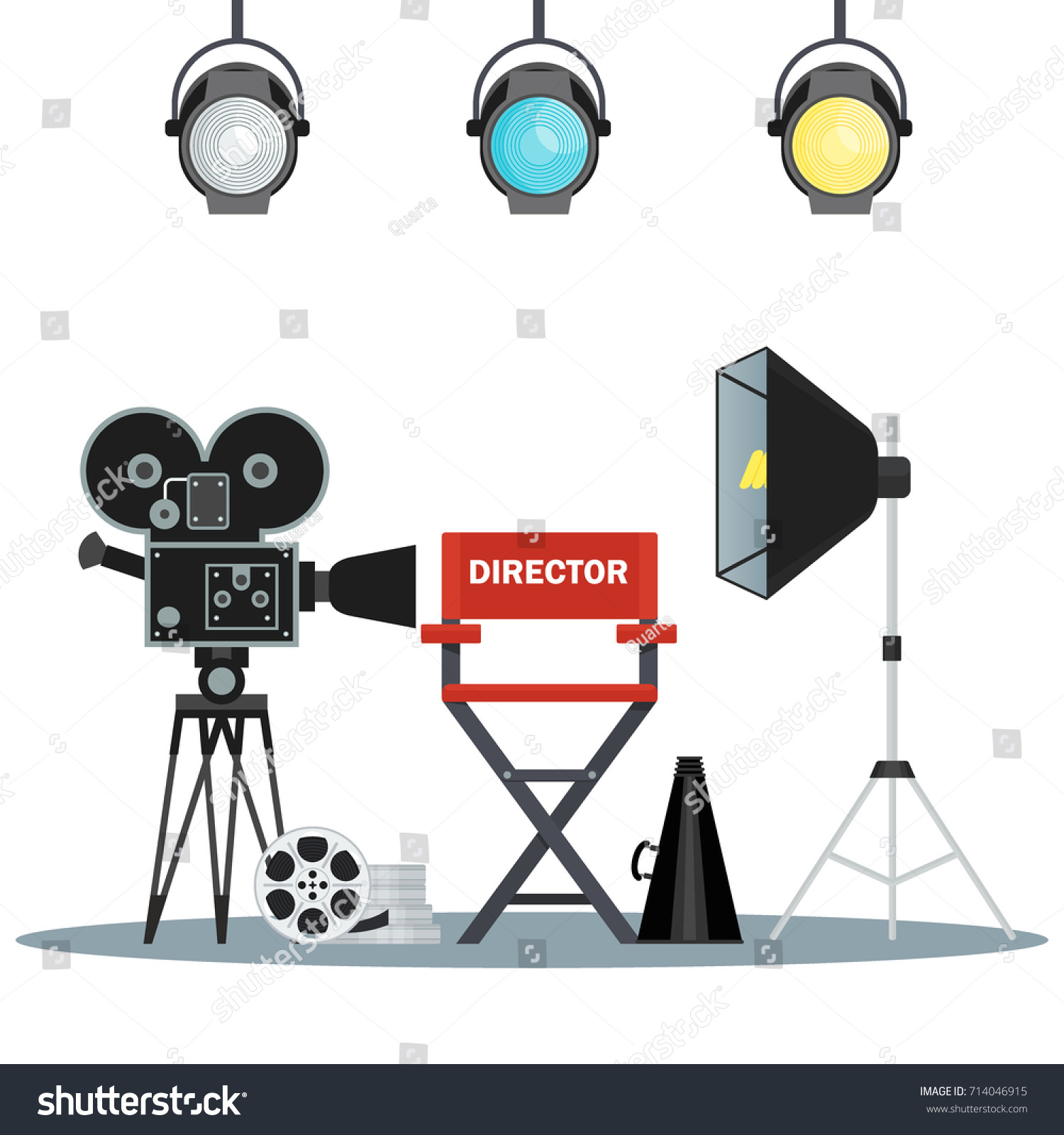 film directors chair with megaphone projector camera and clapboard