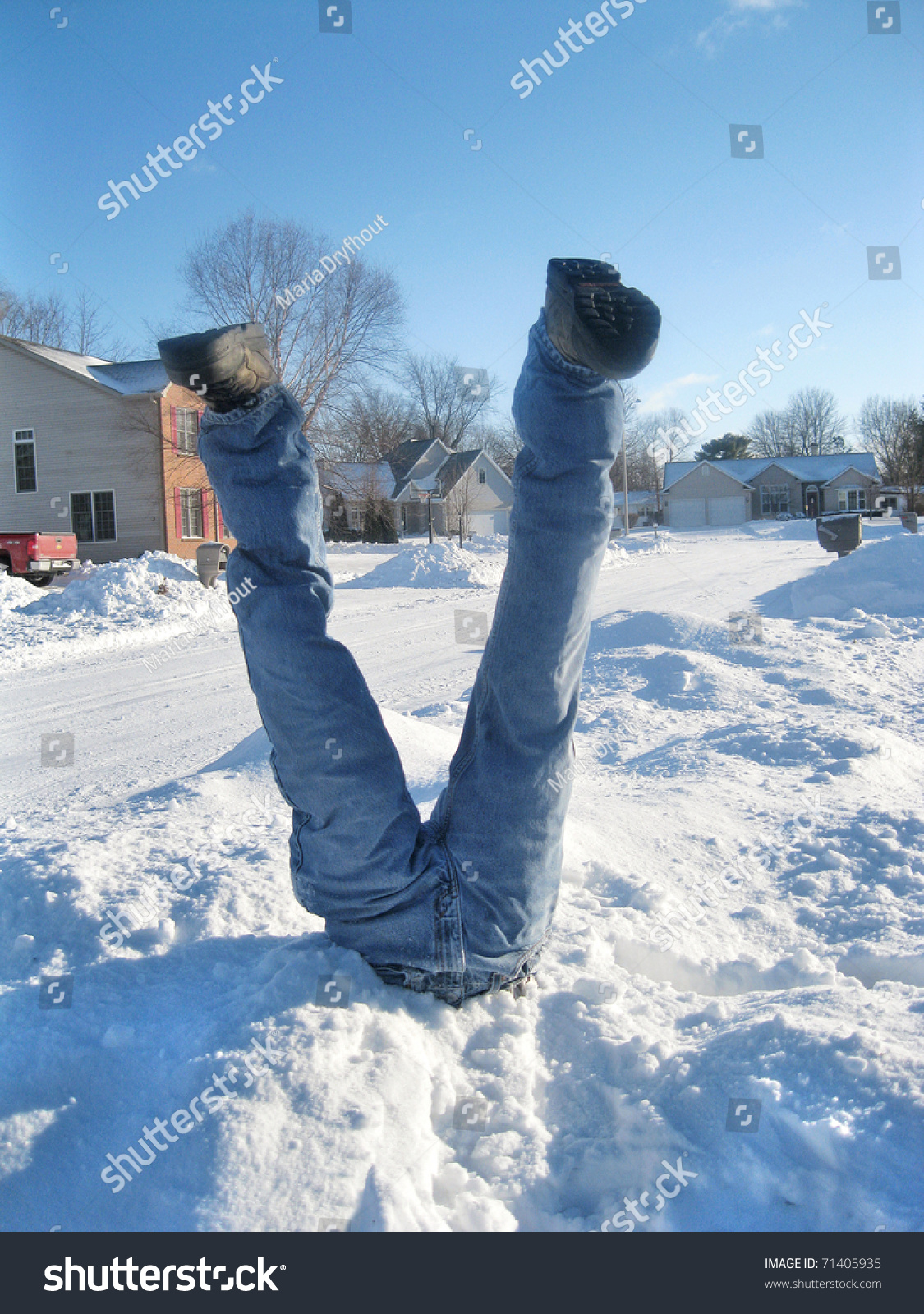 Man Stuck Snowbank Stock Photo 71405935